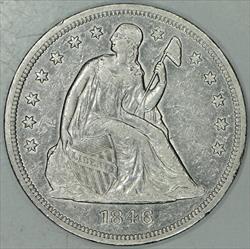 1846 Seated Liberty Dollar; XF-AU