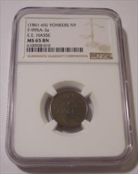 Civil War Token (1861-65) Yonkers NY E E Hasse F-995A-3a R6 MS65 BN NGC