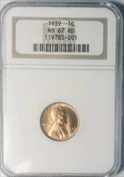 1939 Lincoln Cent - NGC  RD - Mint State 67 Red