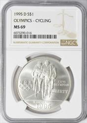 1995-D Olympic Cycling Silver Commemorative Dollar - NGC
