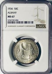 1936 Albany Commemorative Silver Half Dollar - NGC  - Mint State 67