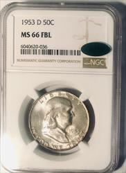 1953 D Franklin Half   NGC FBL CAC  Full Bell Lines CAC