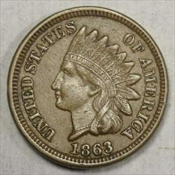 1863 Indian Cent, Extremely Fine+