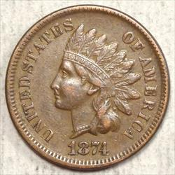 1874 Indian Cent, Extremely Fine, Better Date