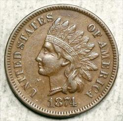 1874 Indian Cent, Choice Extremely Fine, Better Date