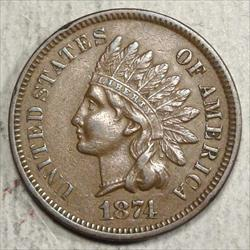 1874 Indian Cent, Almost Uncirculated, Better Date