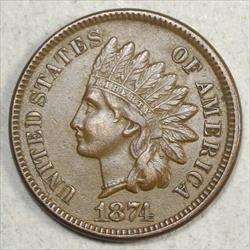1874 Indian Cent, Almost Uncirculated, Obverse Die Crack