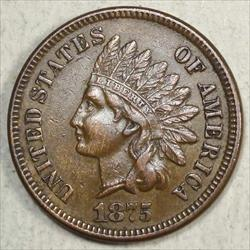 1875 Indian Cent, Almost Uncirculated, Obverse Die Crack