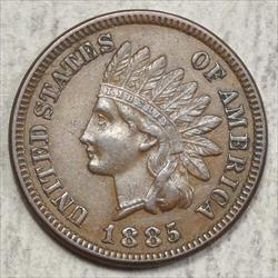 1885 Indian Cent, Choice Almost Uncirculated