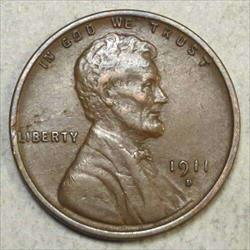 1911-D Lincoln Cent, Extremely Fine, Well Struck
