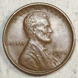 1918-S Lincoln Cent, Almost Uncirculated+, Decent Brown AU
