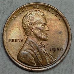 1920 Lincoln Cent, Choice Uncirculated, Much Red Remains