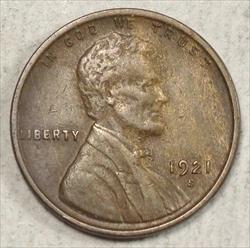 1921-S Lincoln Cent, Extremely Fine, Well Struck Key Date - Discounted