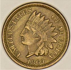 1863 Indian Head Cent; Nice Original XF-AU; Attractive Civil War Cent!