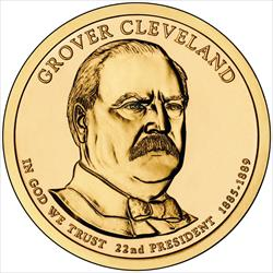 """2012-P Grover Cleveland First Term 22nd Presidential US """"Golden"""" Dollar $1 Coin"""
