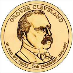 """2012-P Grover Cleveland Second Term 24th Presidential US """"Golden"""" Dollar $1 Coin"""